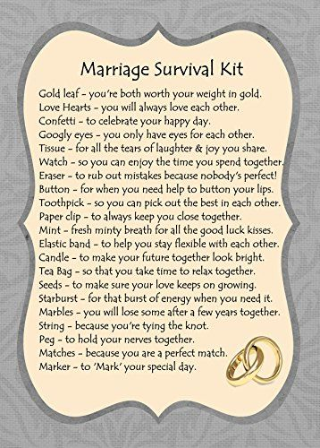 MARRIAGE SURVIVAL KIT GIFT CARD | Future Wedding Ideas | Pinterest ...