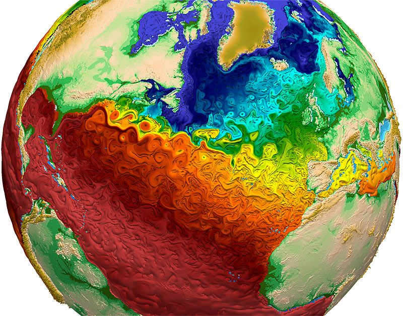 Vibrant simulation shows complexity of ocean circulation and heat the paint like swirls of this visualization from los alamos national laboratory depict global water surface temperatures with the surface texture driven by gumiabroncs Images