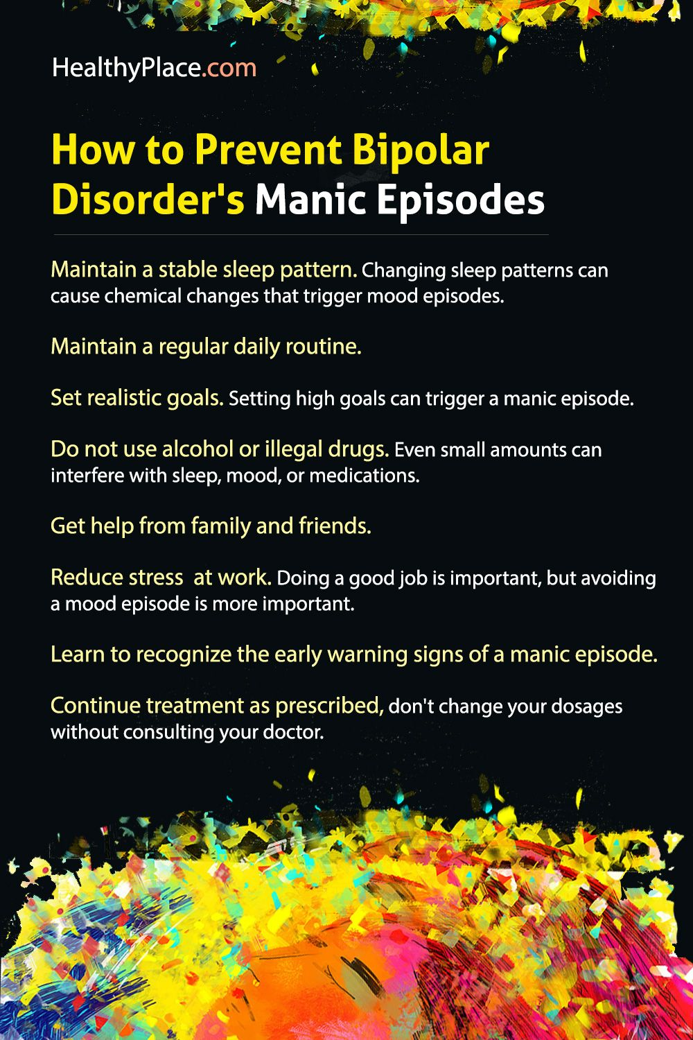 """""""Learn how to identify, control, manage and avoid manic episodes."""" www.HealthyPlace.com"""