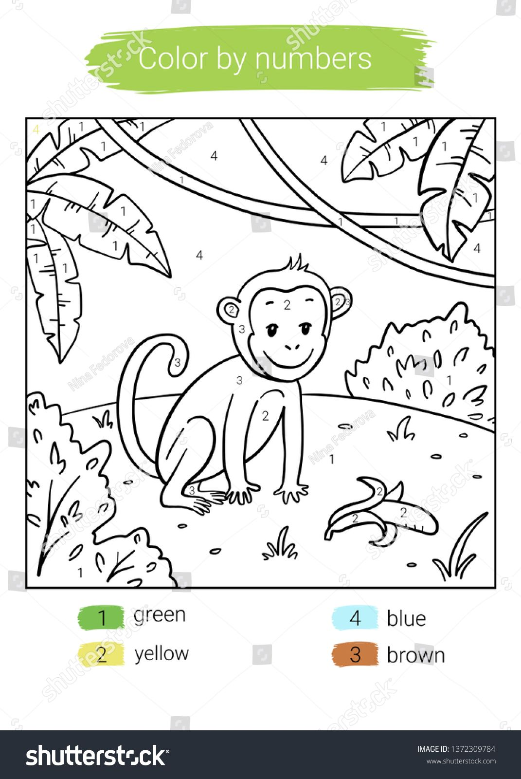Color By Number Monkey Educational Children Game Coloring Book Ad Spon Monkey Educational Color Numbe Coloring Books Color By Numbers Abstract Design