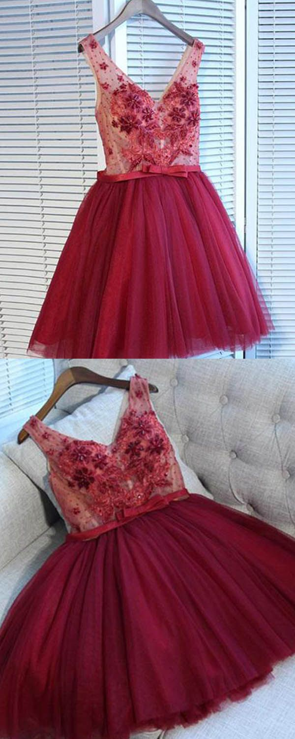 Vneck rose red short homecoming dress with handmade flowers