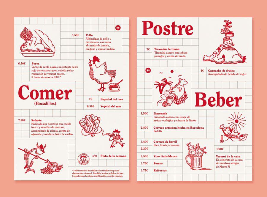 Illustrations for Barcelona restaurant La PorcaArt direction and - a la carte menu template