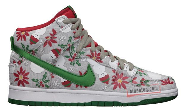 The Nike SB Dunk High UGLY CHRISTMAS SWEATER release date has been changed.  The shoe, with its grey textile upper adorned with Christmas-themed  graphics.