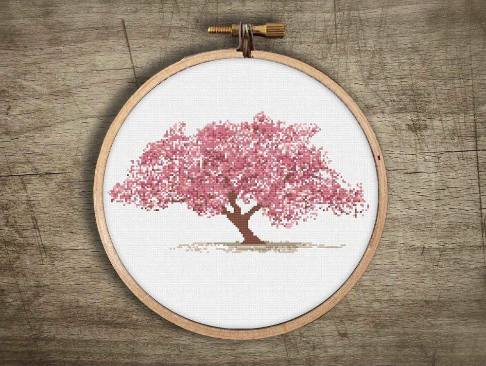 Asian Cherry Blossom Tree Cross Stitch Pattern Vintage Etsy Cross Stitch Tree Embroidery Patterns Vintage Cross Stitch Embroidery