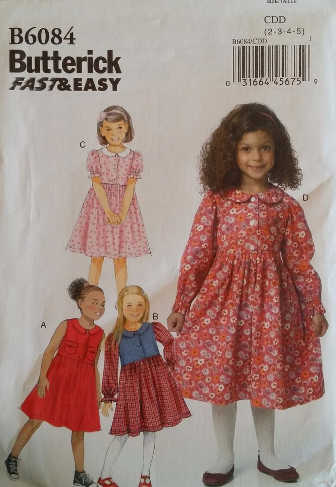 e39c34732d075 ... 6 7 8 on Etsy. Butterick Pattern B6084 Girls  Pullover dresses 4 styles  sizes 2-5 New FREE SHIP  Butterick