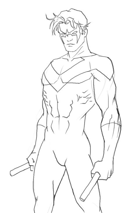 How to draw Nightwing, Dick Grayson, from DC comics. For many years ...