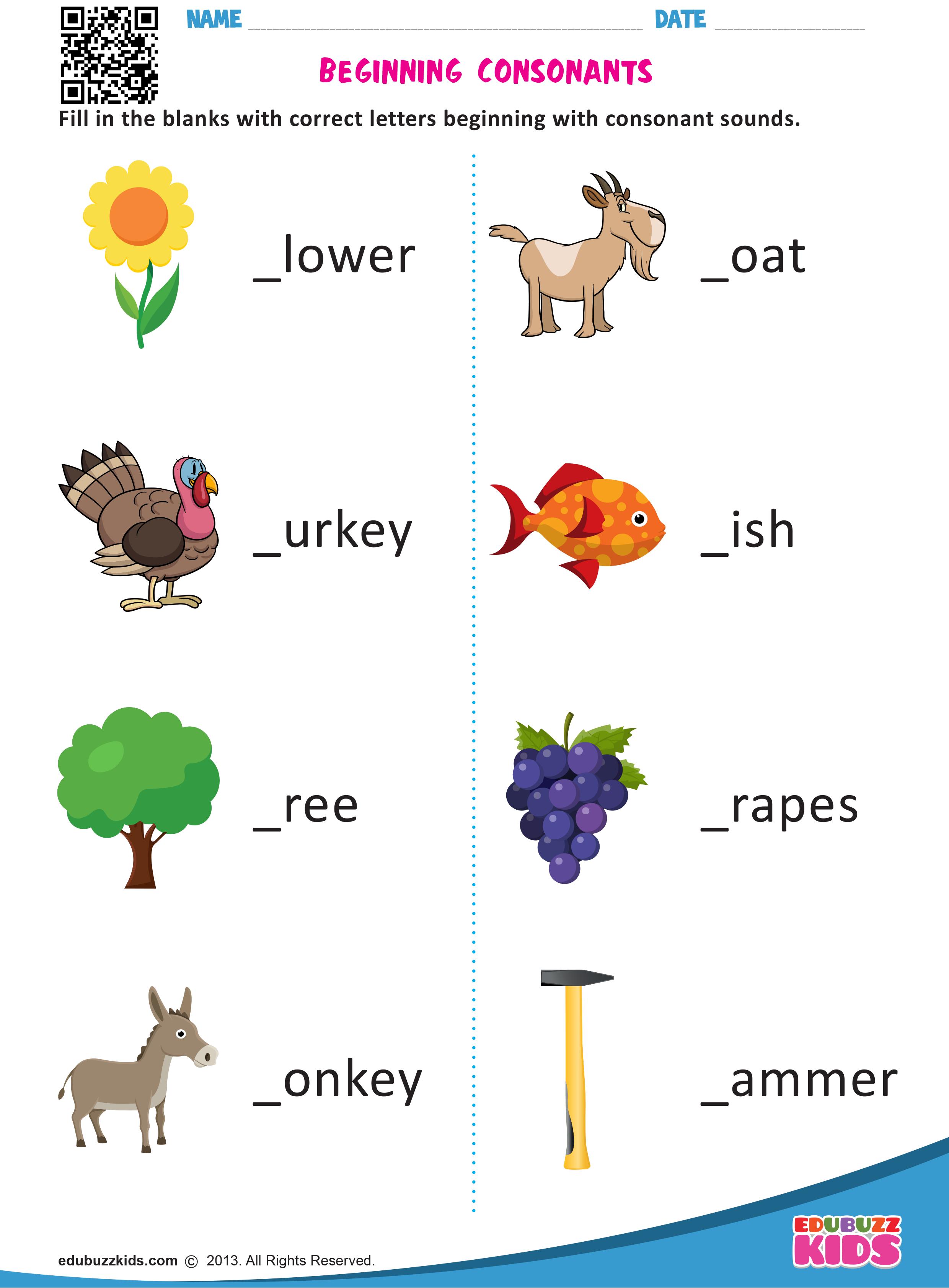 Kindergarten Beginning Consonants Worksheets Which Allow