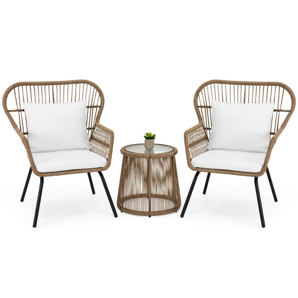 3 Piece Patio Wicker Conversation Bistro Set W 2 Chairs Table Cushions Backyard Furniture Resin Patio Furniture Patio Furniture Sets