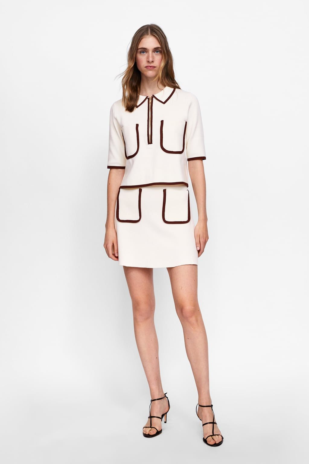 1ca27cbdc56 Image 1 of POLO SWEATER WITH CONTRASTING PIPING from Zara Polo Shirt Outfit  Women s