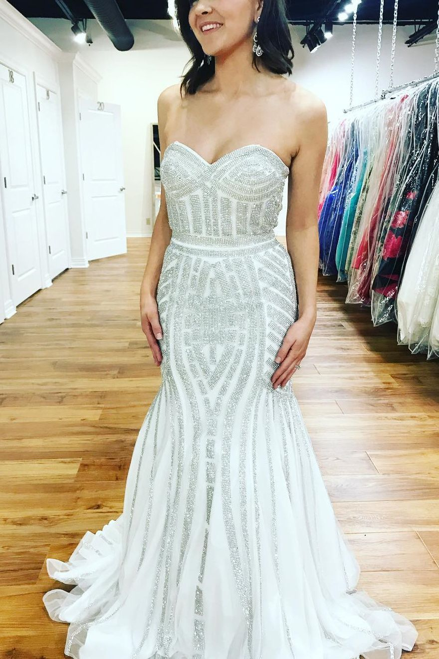 sparkle white silver evening dresses sweetheart crystal tulle
