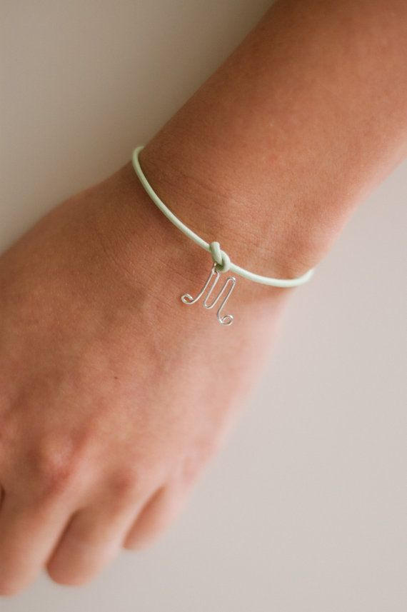 """Tie the knot"" personalized mint green initial bracelet // nutmegan on Etsy #bridesmaids #gifts"
