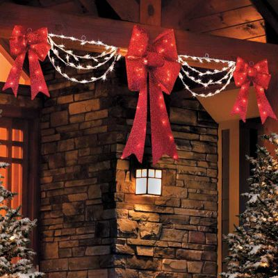 Lighted Swag Bow Set Outdoor Christmas Decorations Pinterest