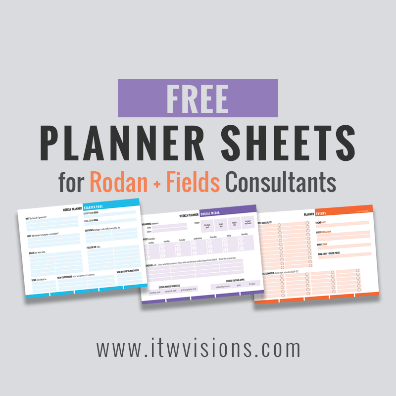 Free Rodan Fields Business Planner Checklists From Itwvisions - Rodan and fields business card template