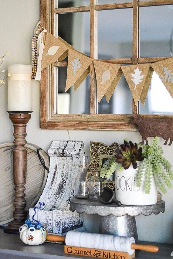 Neutral Fall Decor Burlap Banner handmade by FancyFlamingo on #etsy #fallbanner #homedecor #afflink