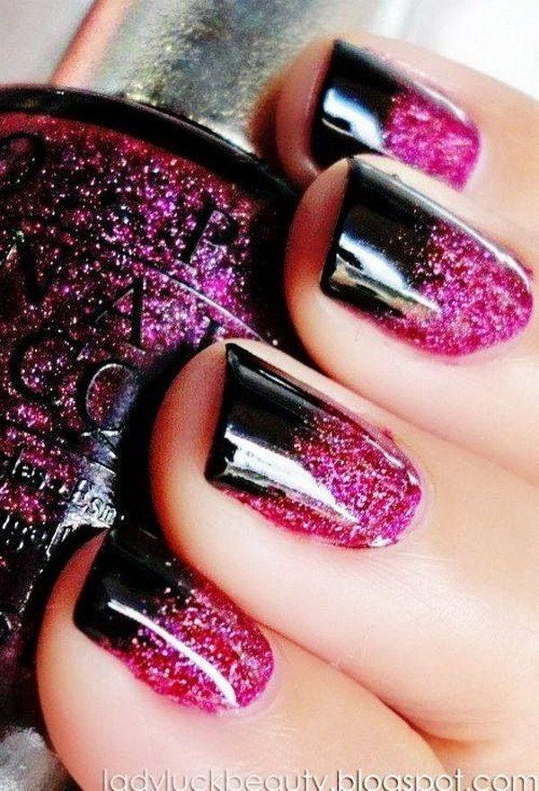 50+ Beautiful Pink and Black Nail Designs | Nails ...