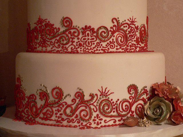 Mehndi Cake Toppers : Red white henna cake details mehndi and