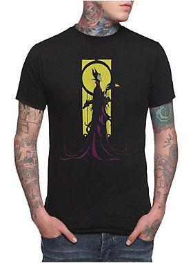 """Black T-shirt with """"""""Magnificent Maleficent"""""""" design by Winona Hwang.<ul><li> 100% cotton</li><li>Wash cold; dry low</li><li>Imported</li><li>Listed in men's sizes</li></ul>"""