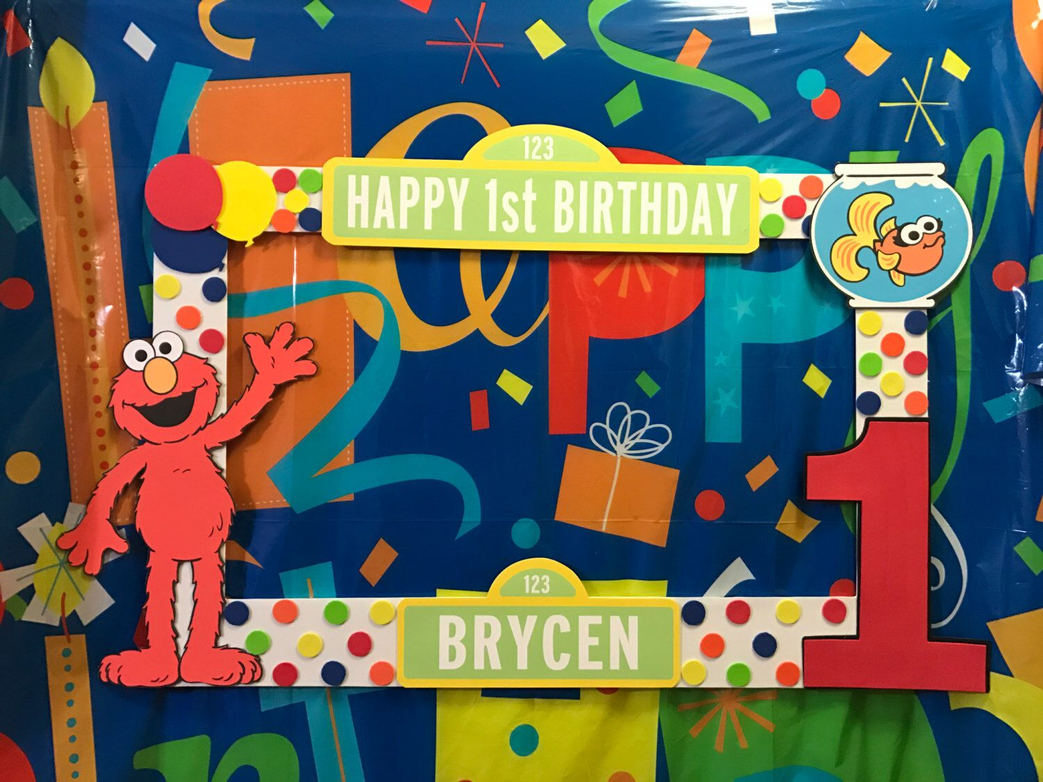 sesame street elmo birthday party photo booth frame by ...
