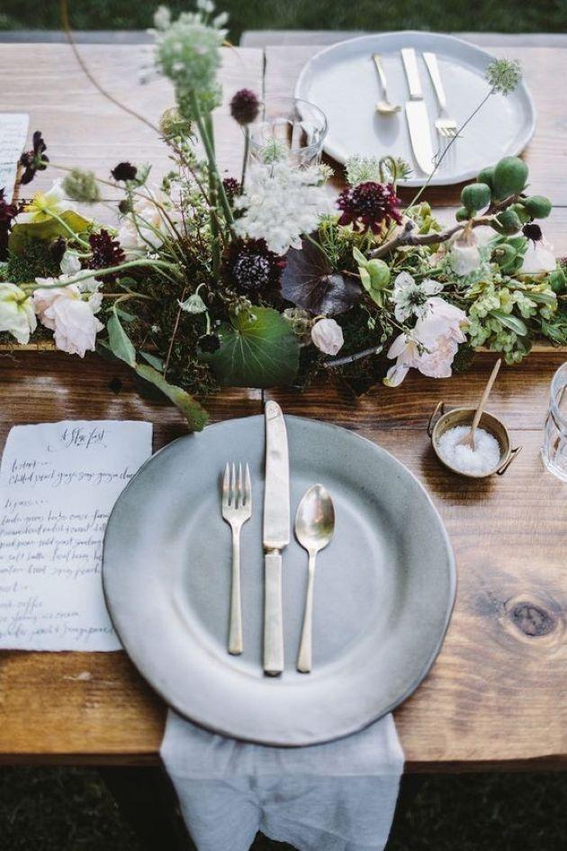 Natural Wedding Scandinavian Centerpiece With Greenery