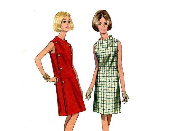 1960s Funnel Neck Dress Pattern A Line Dress by MaddieModPatterns