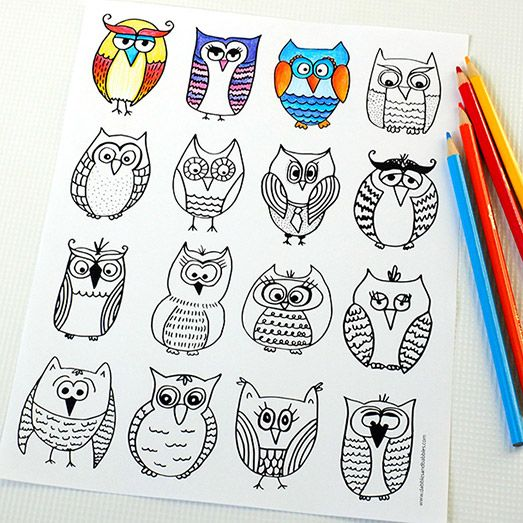 Owl Coloring Page Free printable, Owl and Parents - new free coloring pages for father's day