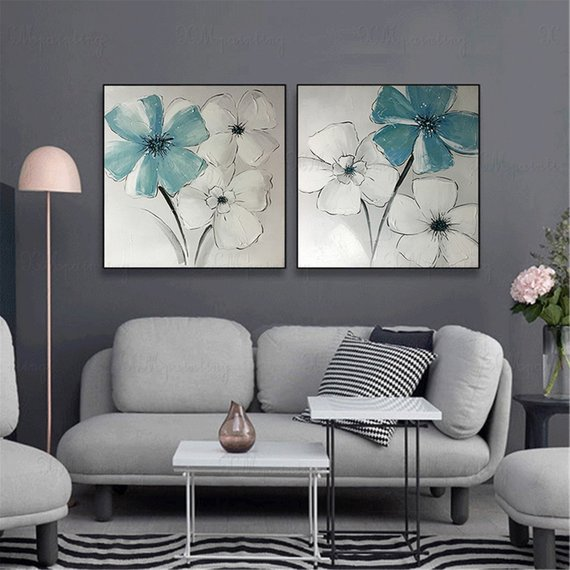2 Pieces Acrylic Flower Abstract Painting On Canvas Wall Art