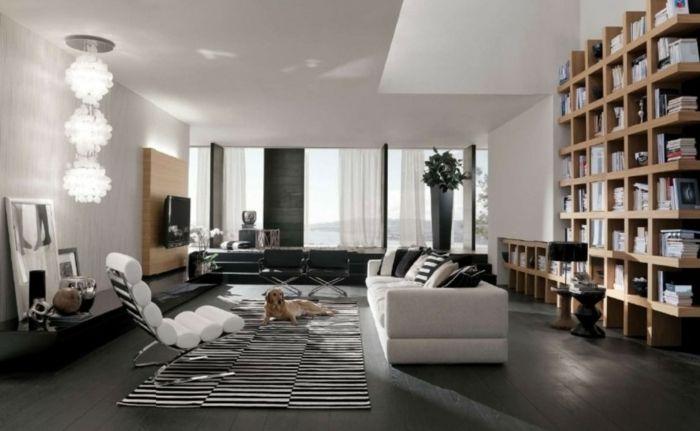 wohnzimmer einrichten ideen streifenteppich coole leuchte