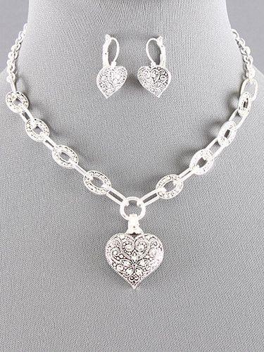 New Silvertone Marcasite Designs Heart Pendant w Rhinestones NL Set Brighton Bay   eBay