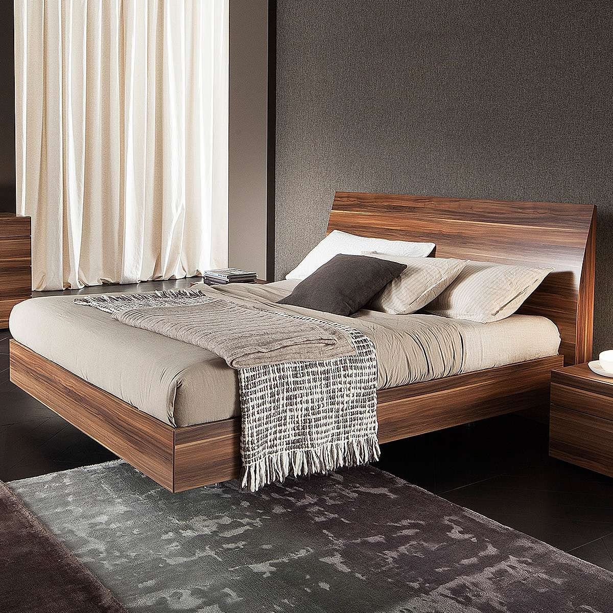 rossetto usa vela bed in walnut by rossetto  beds by rossetto  - rossetto usa vela bed in walnut by rossetto