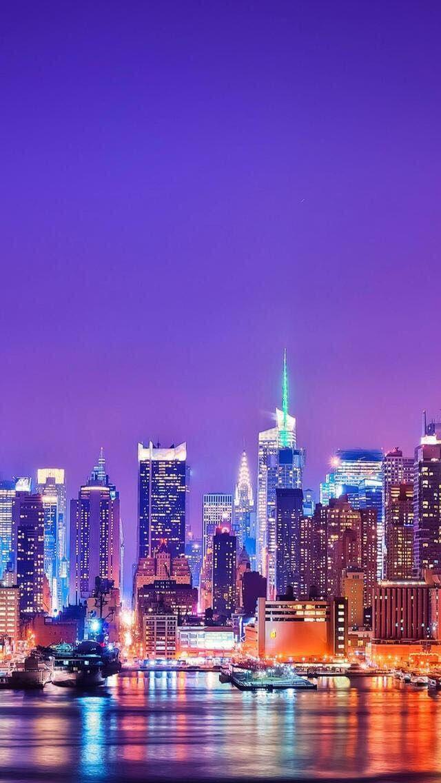 Urban Purple Orange Grey Night New York Wallpaper City Wallpaper New York Skyline