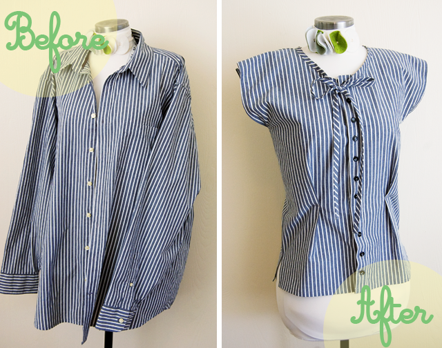 Refashion mens shirt into simple blouse.