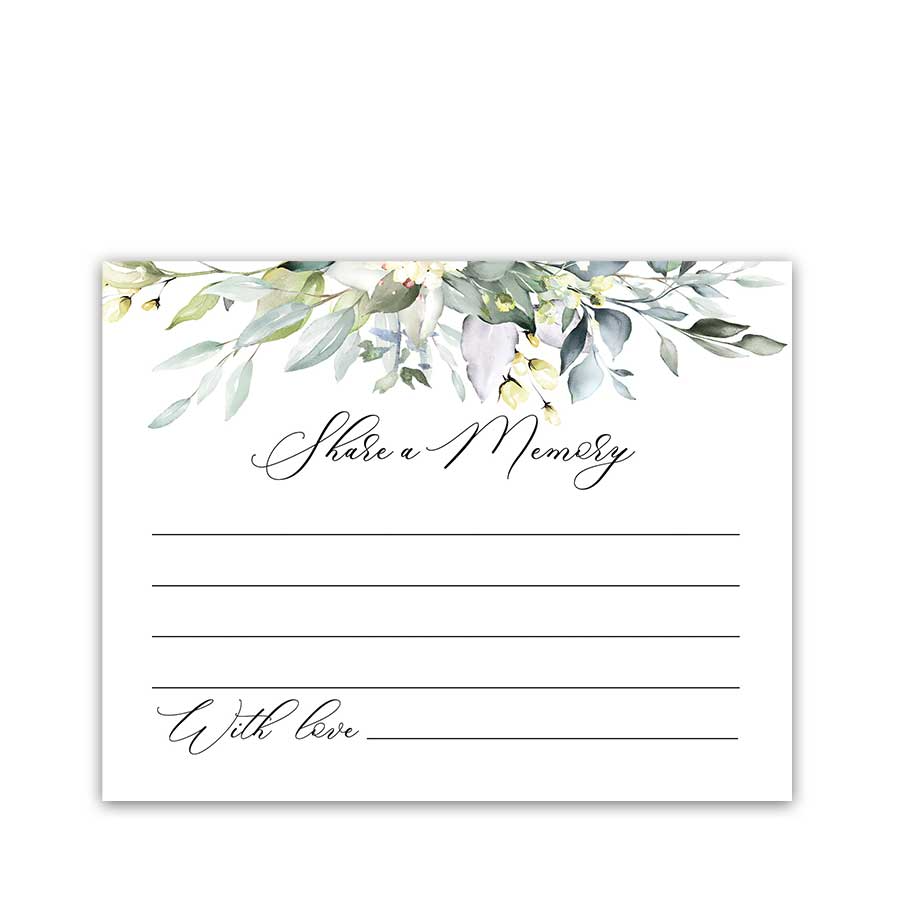 Share A Memory Card Template Card Templates Printable Memorial Cards Card Template