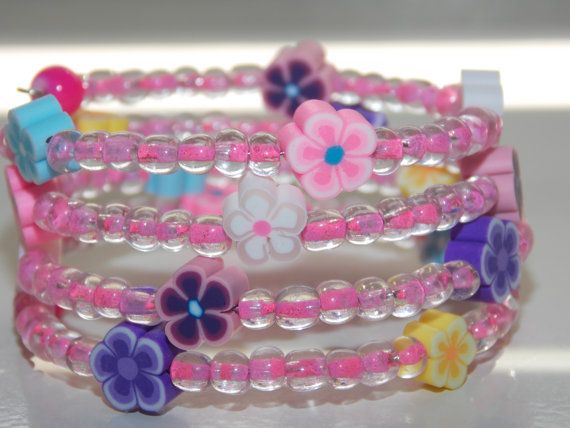 Girls Pink Flower Wrap Braclet by EriniJewel on Etsy, $7.00