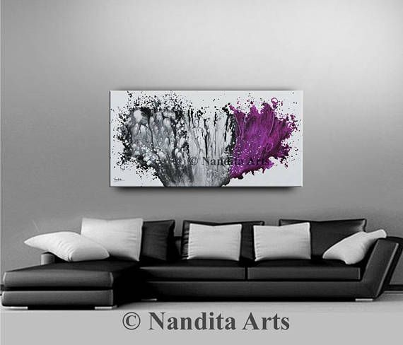 Large Abstract Art Modern Art Canvas Living Room Decor Purple Interesting Living Room Paintings Decorating Design