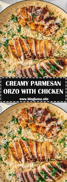 CREAMY PARMESAN ORZO WITH CHICKEN @ND ASPARAGUS - #recipes #dinnerrecipesforfamilymaindishes