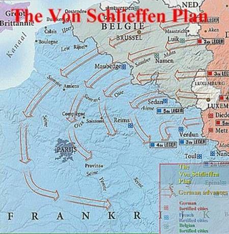 Map Of The Schlieffen Plan Wwi Pinterest Wwi