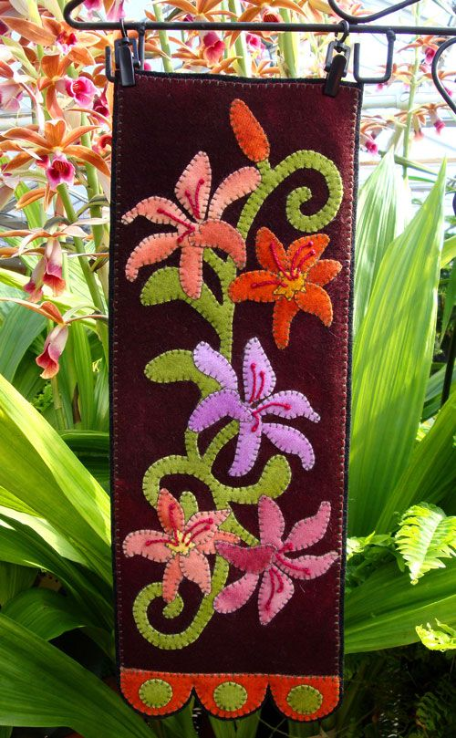 Lovely Lilies Wall Hanging Wool Kit Wool Applique