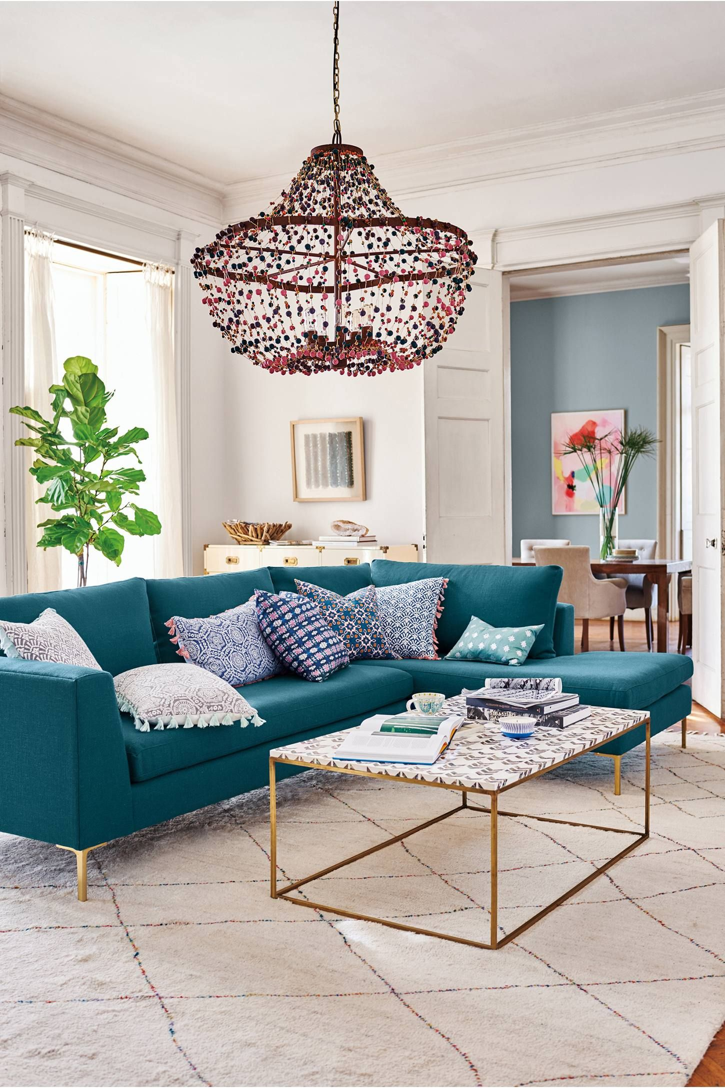 Abalorio Chandelier Teal Sofa Living Room Teal Living Rooms