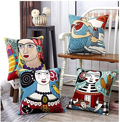HoneyDec Boho Soft Throw Pillow Covers Decorative Abstract Art Exaggerated Mytho...
