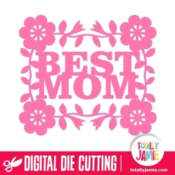 Flower Accent Best Mom  - Let this flower accent best mom die cutting file inspire your newest paper and crafting projects! Digital die cutting files are designed specifically with cutting machines in mind. Use them with programs such as your Silhouette, Cricut (SCAL/MTC), Pazzles, Klick-n-Kut, Wishblade or any cutting machine that can use the following file formats: SVG, PDF, and DXF. Look no further than TotallyJamie's online shop for your next digital die cutting files....