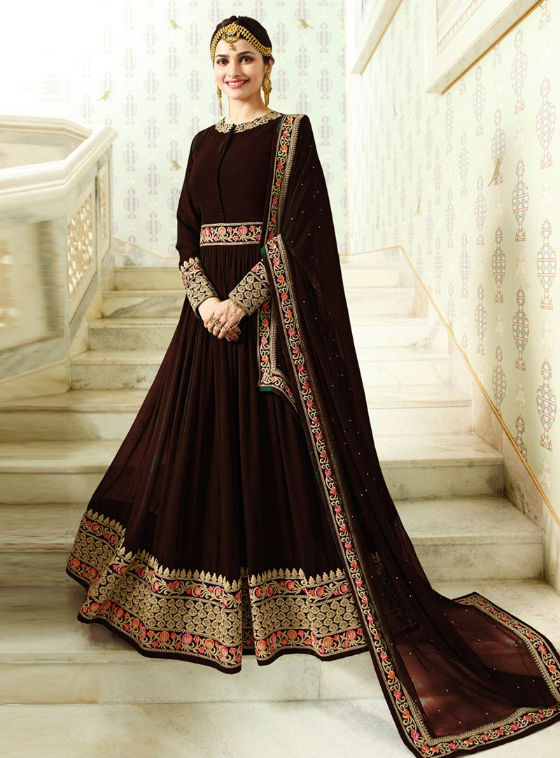 Prachi desai brown faux georgette long anarkali suit
