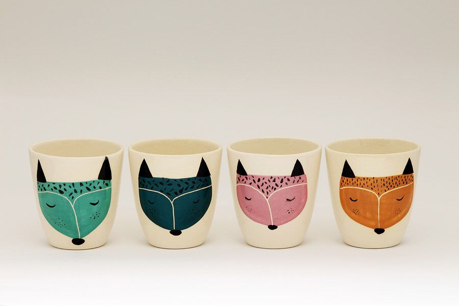 Set of 4 - Handmade ceramic cup - ceramic coffee cup - coffee mug - fox illustration - serveware - tableware - gift idea - MADE TO ORDER by MarinskiHeartmades on Etsy https://www.etsy.com/listing/216639093/set-of-4-handmade-ceramic-cup-ceramic