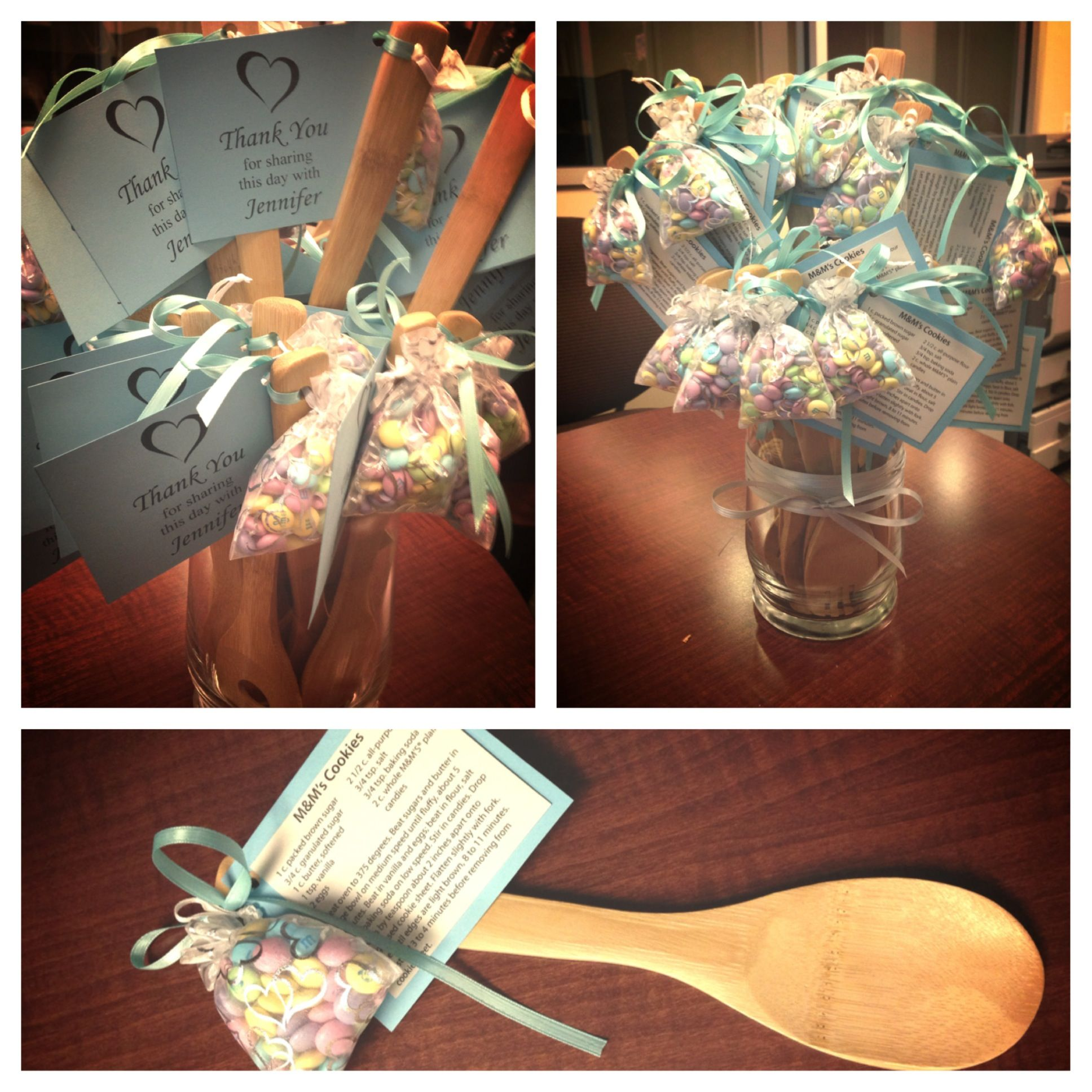 bridal shower favors for cooking theme wooden spoons with ms and recipe tag personalized for the bride to be