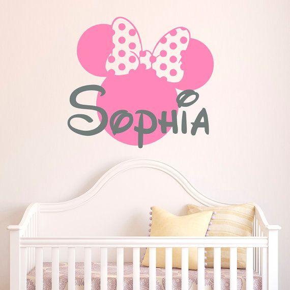 Baby Name Wall Decal Minnie Mouse Wall Decal By FabWallDecals