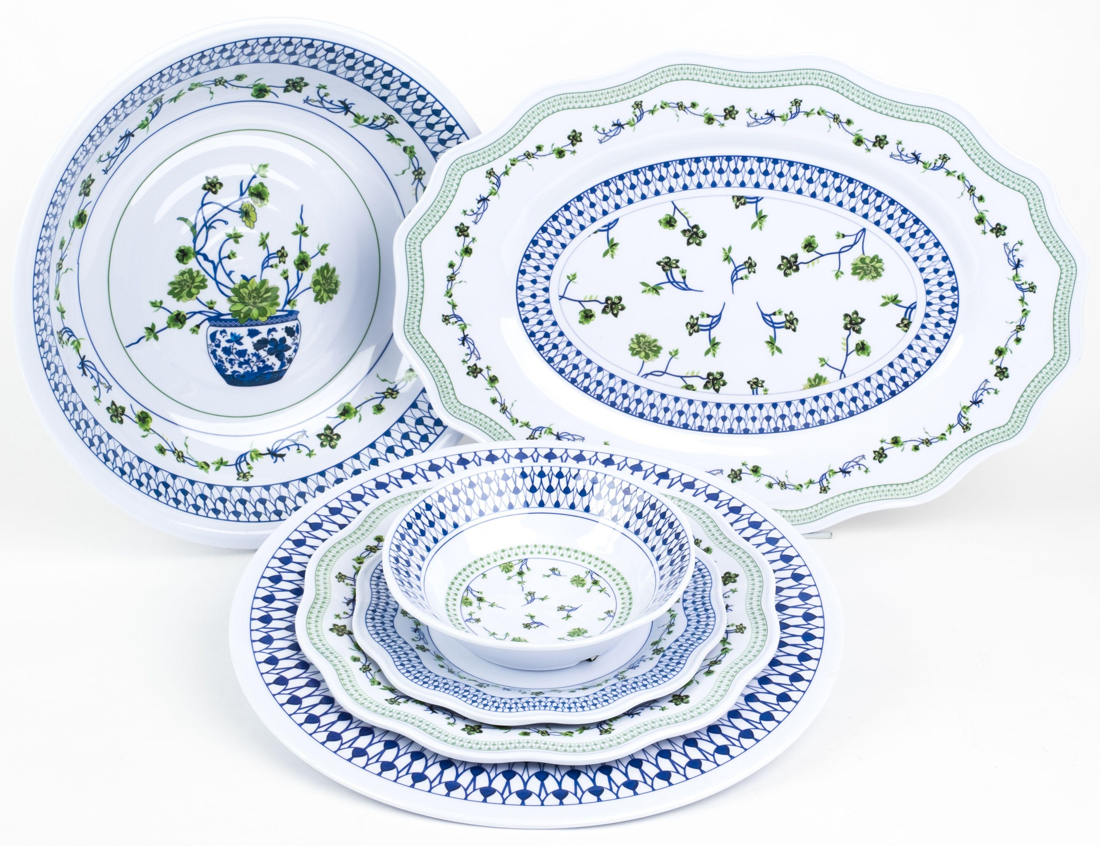 Fabulous Green Blue Floral Melamine Starting At 22 Enchanted Home Floral Melamine White Dish Set