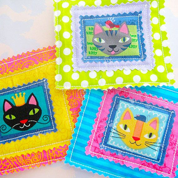 Fabric Appliques Kitty Cats Embellishment Set of by trinketsnh, $6.95