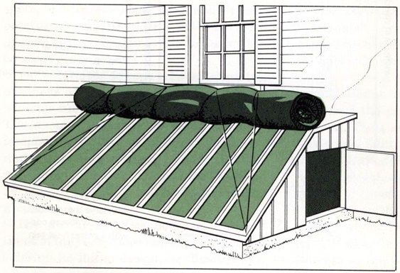 Burlap bags filled with leaves, or canvas stuffed with loose fiberglass, serve as night insulating shades in this drawing adapted from the book Winter Flowers in Greenhouse and Sun-Heated Pit by Kathryn S. Taylor and Edith W. Gregg (Scribner's, 1969).