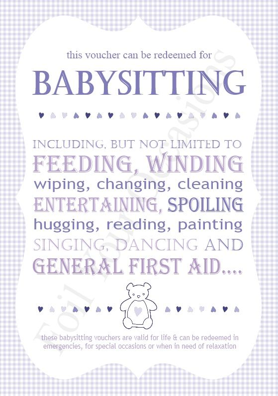 baby sitting vouchers great for a prizes for baby shower games available to buy at http www. Black Bedroom Furniture Sets. Home Design Ideas