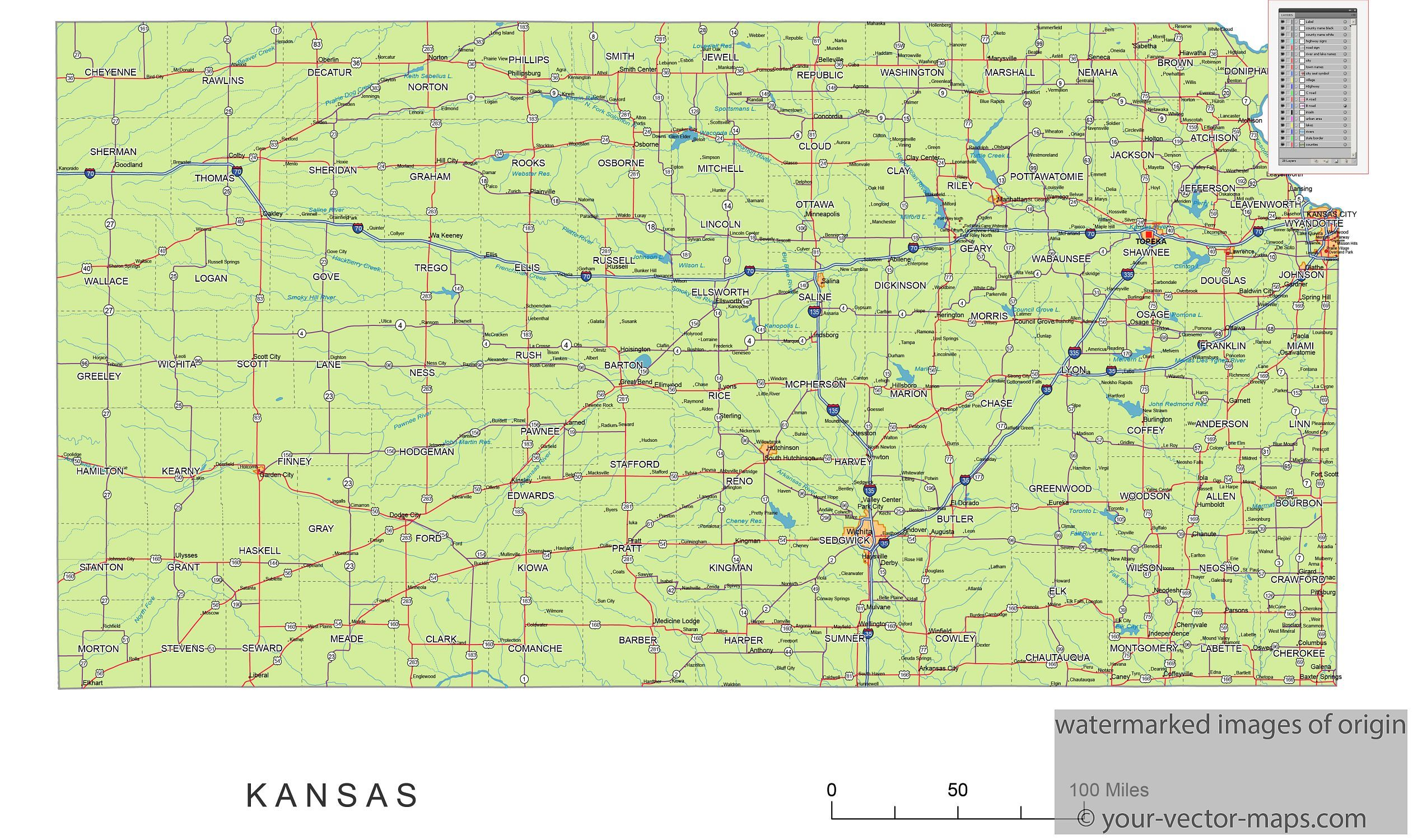Kansas state route network map Kansas highways map Cities of