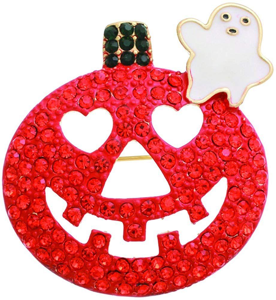 MixMatch Orange Black Pumpkin Happy Halloween Brooch W/Gift Box Color 31017HCR-BN #happyhalloweenschriftzug